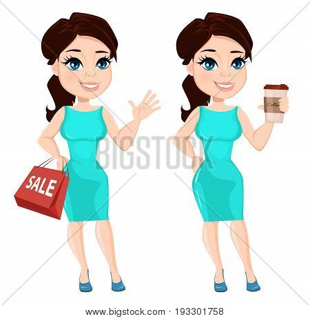 Pretty woman in vibrant dress holding coffee and holding paper bag for sale. Cute cartoon character. Vector illustration