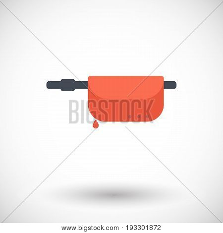 Inflatable life jacket in waist bag vector flat icon Flat design of water safety and life guard equipment object isolated on the white background with round shadow vector illustration