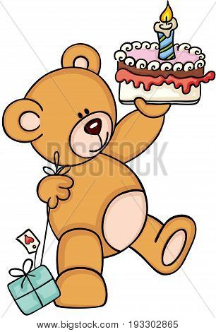 Scalable vectorial image representing a teddy bear holding birthday cake and gift, isolated on white.