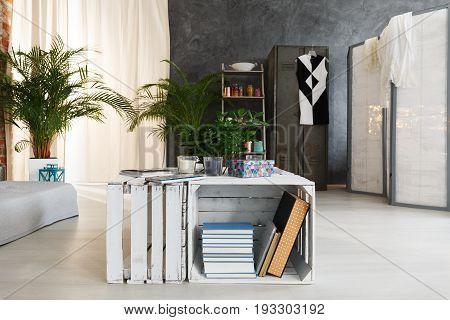 Fruit crate DIY end table in fancy modern industrial loft