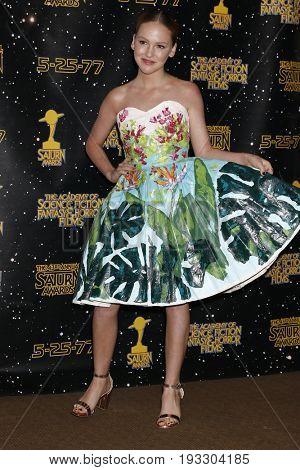 LOS ANGELES - JUN 28:  Talitha Bateman at the 43rd Annual Saturn Awards - Press Room at the The Castawa on June 28, 2017 in Burbank, CA