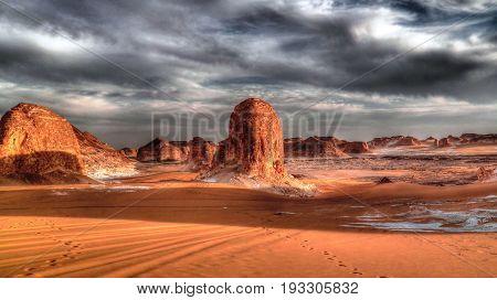 Panorama of El-Agabat valley in White desert at sunset, Sahara, Egypt