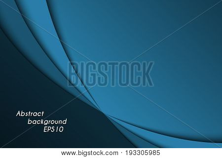 Blue abstract background with dark curves vector illustration with blank space for your text business template