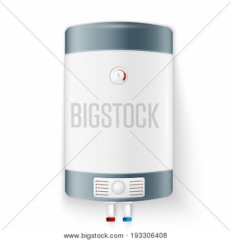 Realistic modern electric water heater isolated on white background