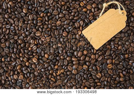 Coffee Beans Dark And The Tag. Top View