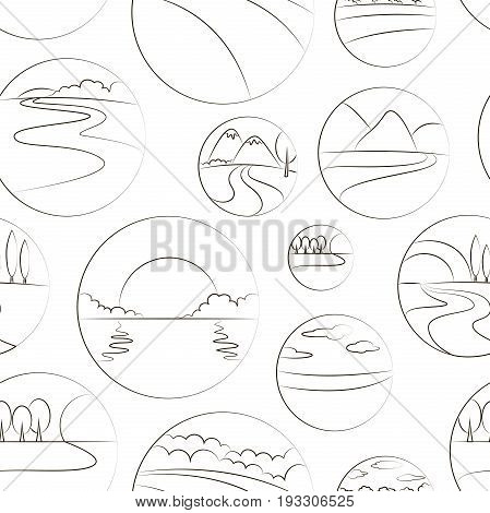 River and Landscape icons pattern. Symbols of ecology nature and travel sea and sun, mountain, tree, park or green forest, summer sunset and river.
