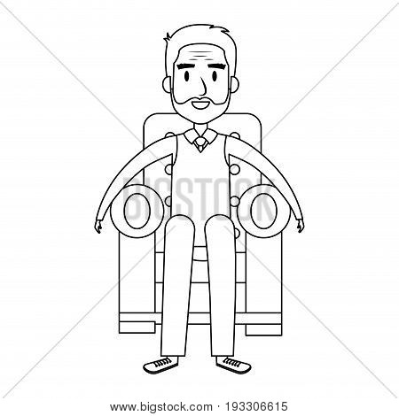 cute grandfather Sitting on the couch avatar character vector illustration design