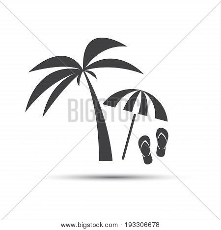Holiday icon with palm beach umbrella and flip flop isolated on white background