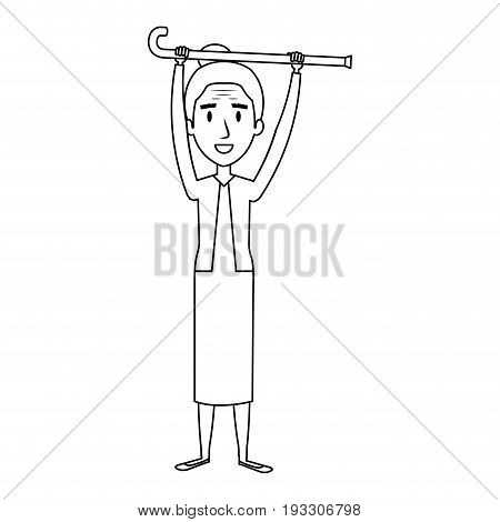 cute grandmother with cane avatar character vector illustration design