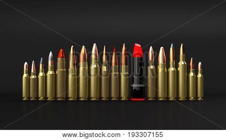 Rifle lipstick ammunition 3d illustration on the black background
