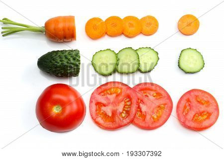 sliced tomatoes, sliced carrot, sliced cucumber, parsley and fresh green peas isolated on a white background. top view