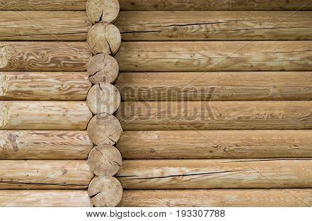 Close-up of wooden log built rural house.