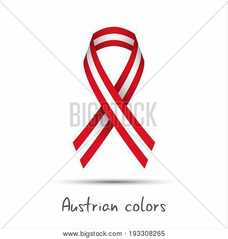 Modern colored vector ribbon with the Austrian colors isolated on white background abstract Austrian flag Made in Austria logo