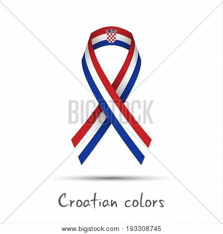 Modern colored vector ribbon with the Croatian tricolor isolated on white background abstract Croatian flag Made in Croatia logo