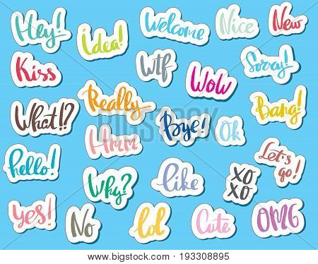 Of sticker collection for comic style chat bubble for different word