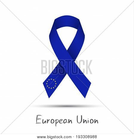 Modern colored vector ribbon European Union isolated on white background the European Union abstract flag Made in the European Union logo