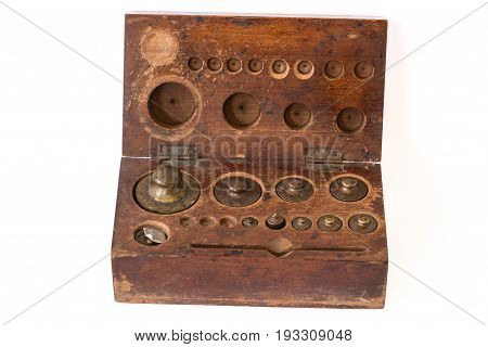 Antique Cast Brass Weights for Vintage Balance Scale in wood box.