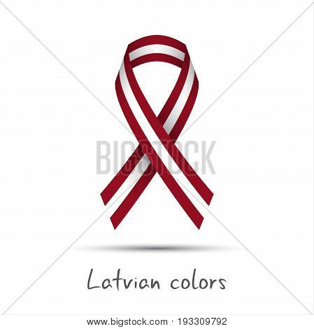 Modern colored vector ribbon with the Latvian colors isolated on white background abstract Latvian flag Made in Latvia logo