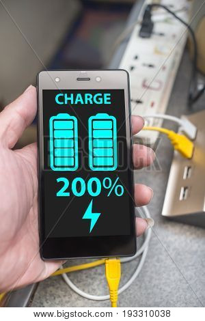 Smart Phone Super Speed Charging With Full Battery On Screen, Turbo Charge, Double Fast Speed Chargi