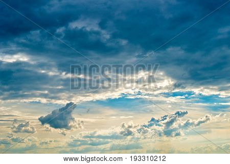 Blue Sky with Clouds Before the Sundown