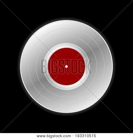 Vinyl record icon isolated on black background.