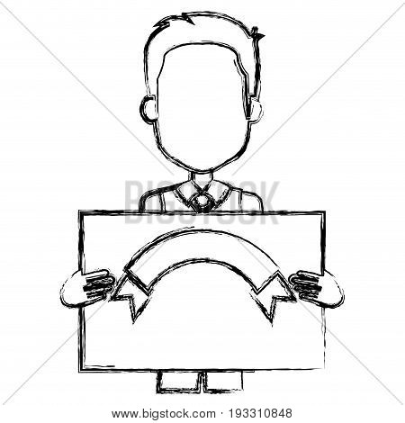 cute grandfather with card avatar character vector illustration design