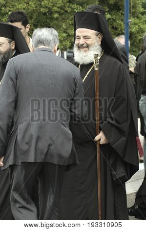 The Forthright Greek Orthodox leader Archbishop Christodoulos greeting pilgrims honoring the Saint John the Russian. May 26 2005 - Prokopi, Evia, Greece