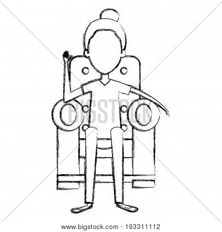 cute grandmother Sitting on the couch avatar character vector illustration design