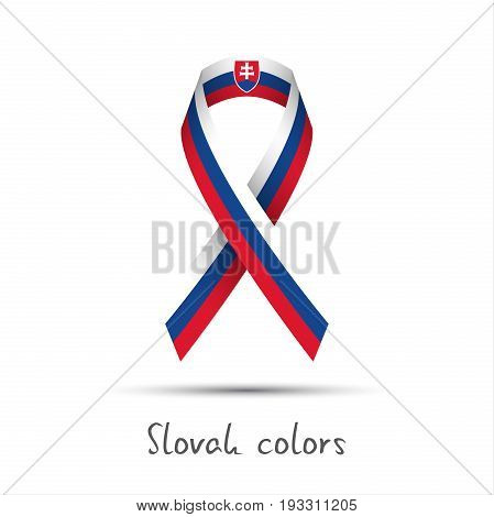 Modern colored vector ribbon with the Slovak tricolor isolated on white background abstract Slovak flag Made in Slovakia logo