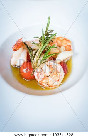 Prawn salad. Appetizer Healthy Shrimp Salad with garlic and tomatoes in olive oil. Healthy Diet. Shrimps