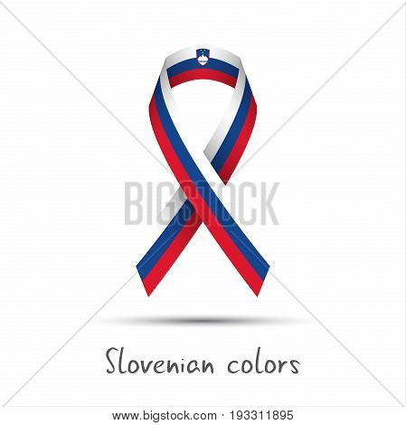 Modern colored vector ribbon with the Slovenian tricolor isolated on white background abstract Slovenian flag Made in Slovenia logo