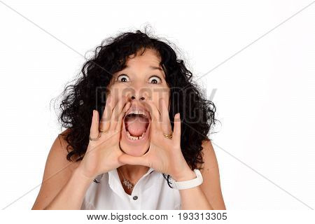 Woman Shouting And Screaming.