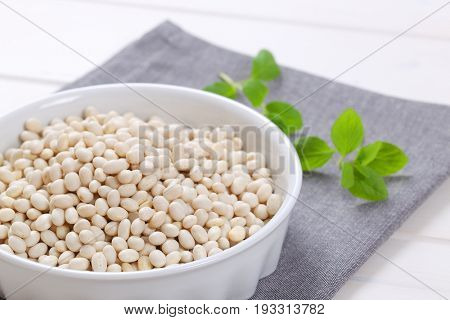 bowl of raw white beans on grey place mat - close up