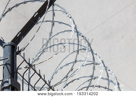 a barbed wire on the wall background