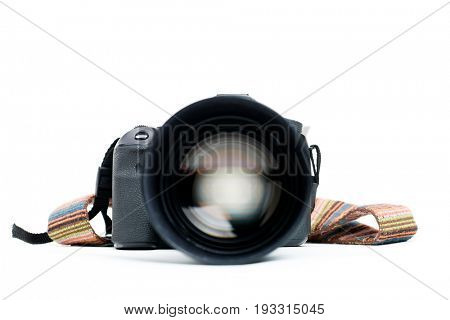 Camera with lens and belt