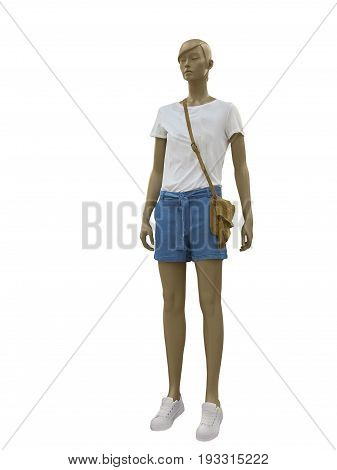Full-length female mannequin dressed in blue t-shirt and blue shorts. Isolated on white background. No brand names or copyright objects.