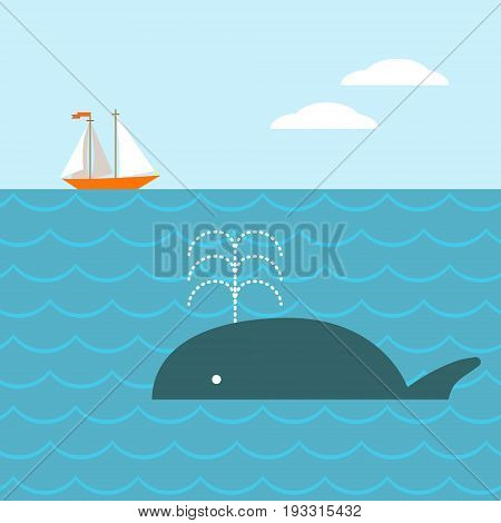 Vector illustration of yacht and whale in ocean. Blue background. cartoon design. Concept for nautical travel, wild nature, water fauna and environment.