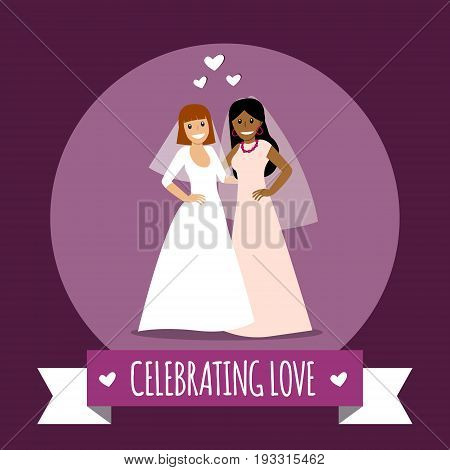 Beautiful lesbian couple in white wedding dresses. Same-sex family. Gay marriage. Two brides on isolated background. Vector art.  For wedding invitation, Save the Date cards etc.