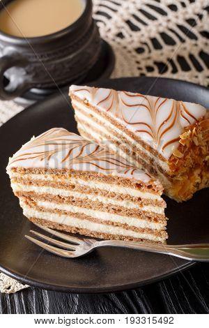Piece Of Homemade Esterhazy Torte (cake) On A Plate And Coffee Close-up. Vertical