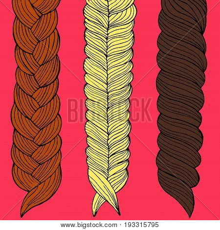 Three braids painted by hand vector illustration