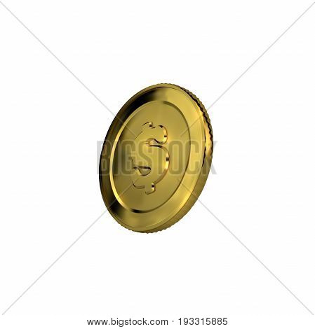 Money. 3d golden coin with dollar sign. Vector illustration. Financial or business concept.