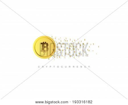 Cryptocurrency concept. Golden coin with bitcoin sign. Vector flat illustration with blockchain technology based crypto currency. Financial or technology concept. Virtual money