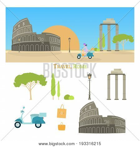 Travel Rome. Woman driving on a scooter transporting shopping bags. Cityscape of Rome with Colosseum and sunrise.