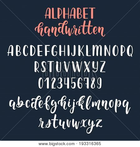 White handwritten latin calligraphy brush script with numbers and symbols. Calligraphic alphabet. Vector illustration