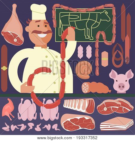 Cartoon character Butcher and meat shop with sausages beef and bacon cartoon vector illustration