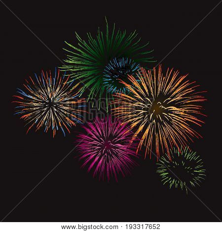 Fireworks exploding in the night sky. Vector file.