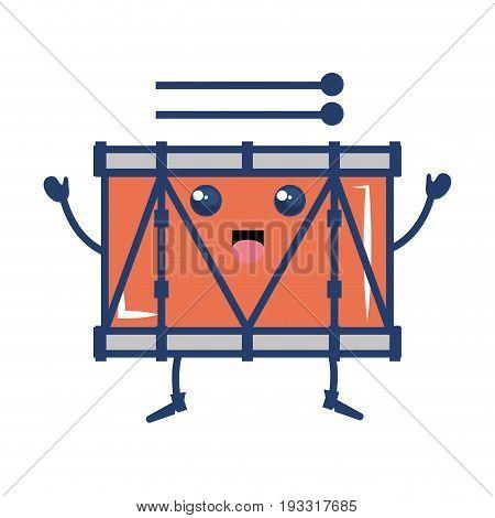 band drum musical instrument kawaii character vector illustration design