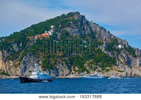 Capri town on Capri island, Campania, Italy. Capri is an island in the Tyrrhenian Sea off the Sorrentine Peninsula, on the south side of the Gulf of Naples in the Campania region of Italy