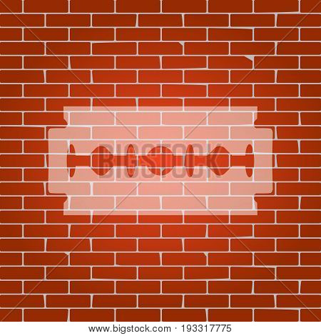 Razor blade sign. Vector. Whitish icon on brick wall as background.