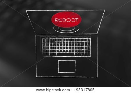 Laptop With Big Red Reboot Button On Screen